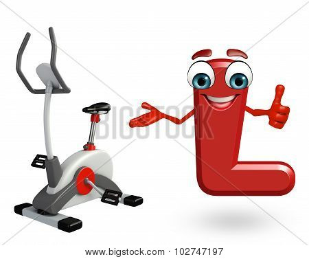 Cartoon Character Of Alphabet L With Exercising Machine