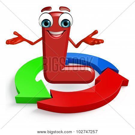 Cartoon Character Of Alphabet L With Arrow