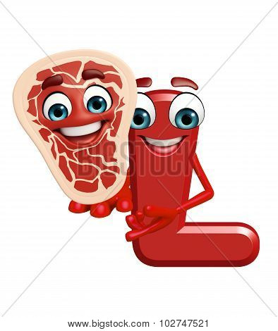 Cartoon Character Of Alphabet L With Meat Steak