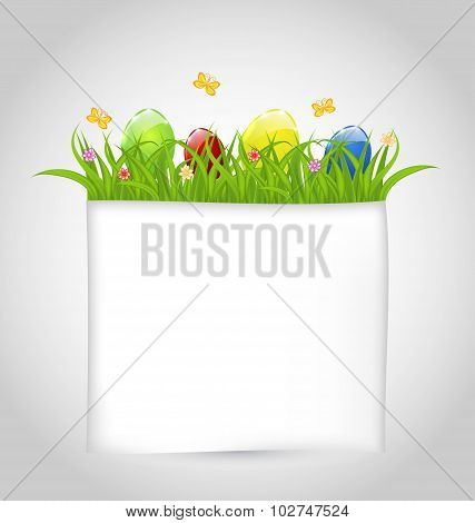Easter colorful eggs in green grass with empty paper for your te
