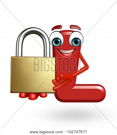 Cartoon Character Of Alphabet L With Lock