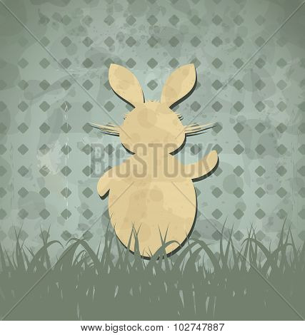 Easter happy vintage poster with rabbit and grass
