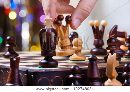 Hand Of Chess Player With Queen