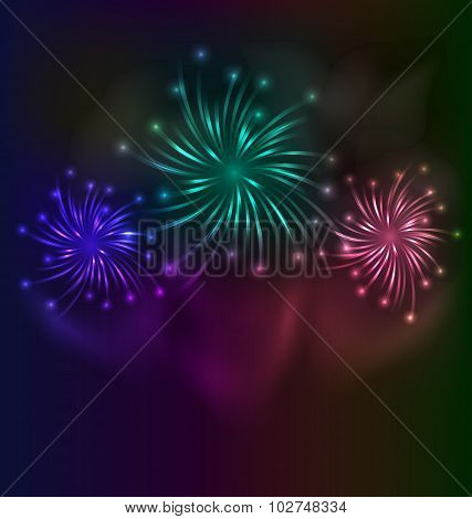 Colorful fireworks background with place for text