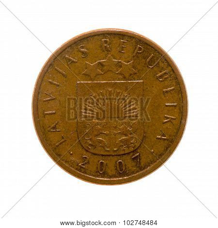 Coin Two Centimes Latvia Isolated On White Background. Top View