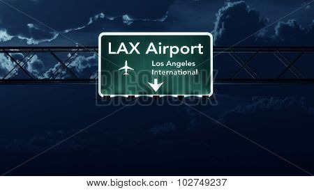 Los Angeles Lax Usa Airport Highway Sign At Night