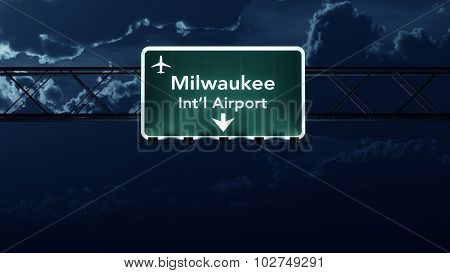 Milwaukee Usa Airport Highway Sign At Night