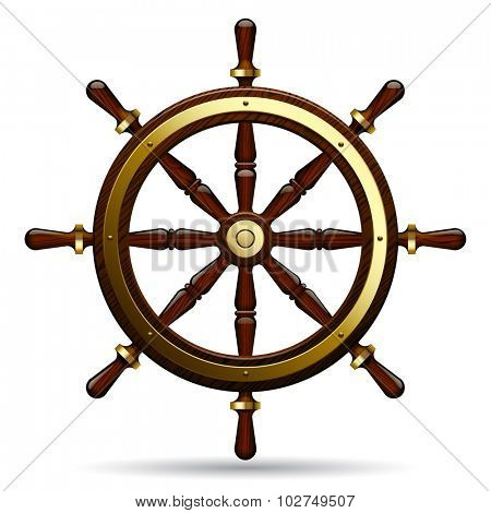 Vintage steering wheel on the white background.  Navigation symbol. Vector Illustration