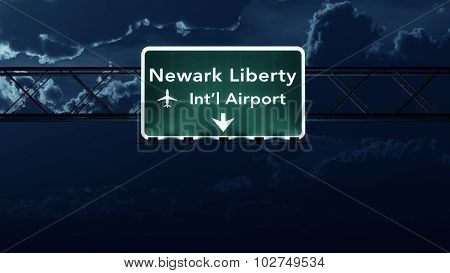 New Jersey Usa Airport Highway Sign At Night