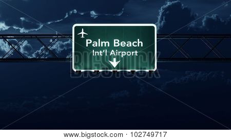 Palm Beach Usa Airport Highway Sign At Night
