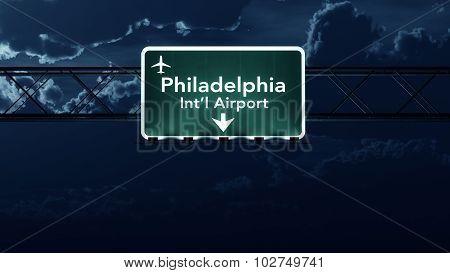 Philadelphia Usa Airport Highway Sign At Night