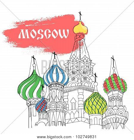 Moscow, Red Square, Cathedral In Colorful Sketch Style