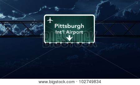 Pittsburgh Usa Airport Highway Sign At Night