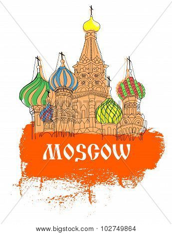 Moscow, Red Square, Cathedral In Orange  Sketch Style