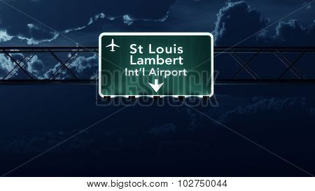 Saint Louis Usa Airport Highway Sign At Night