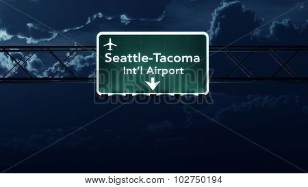 Seattle Usa Airport Highway Sign At Night