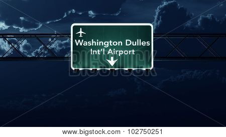 Washington Dc Dulles Usa Airport Highway Sign At Night
