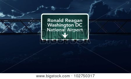 Washington Dc Reagan Usa Airport Highway Sign At Night