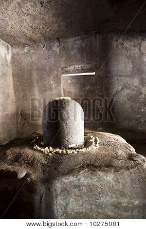 Stone linga on Elephanta Island.