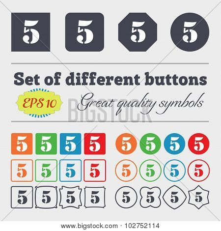 Number Five Icon Sign. Big Set Of Colorful, Diverse, High-quality Buttons. Vector