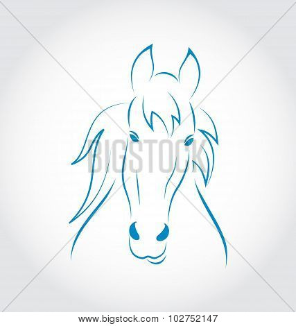 Symbol outline head horse isolated on white background