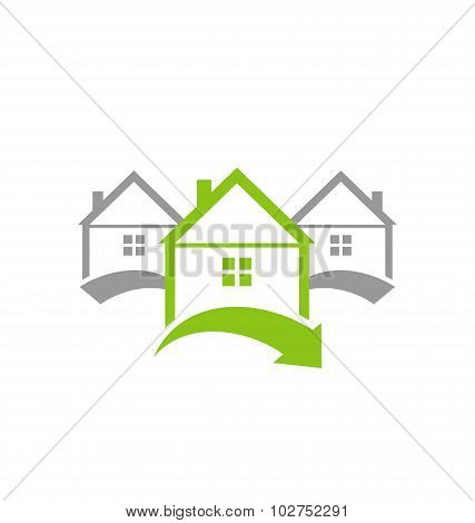 Ecological concept icon renewable green houses