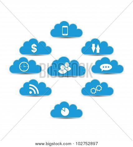 Cloud computing and technology, infographic design elements