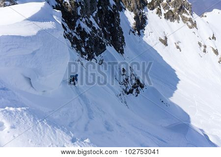 Skier in deep powder, extreme winter freeride