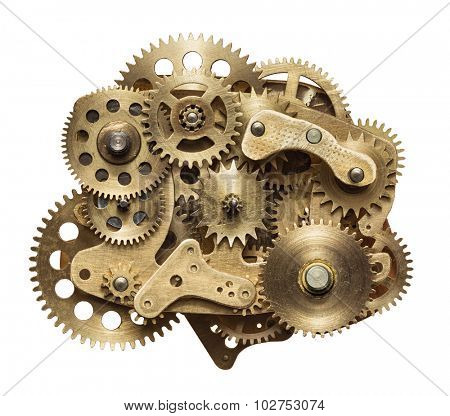 Metal collage of clockwork gears isolated on white background