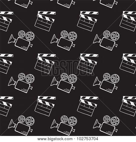 Movie camera and clapper board