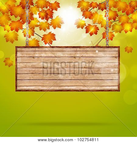 Wood Notice On Autumn Background
