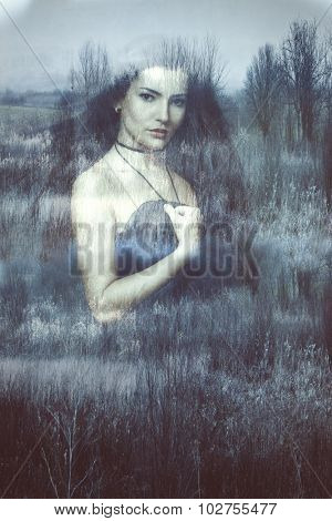 beautiful long hair brunette woman portrait, double exposure