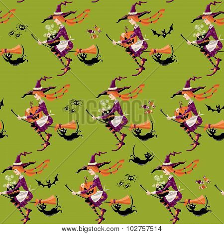 Little Witch On A Broom With A Cauldron, Pumpkin And A Cat. Happy Halloween. Seamless Background Pat