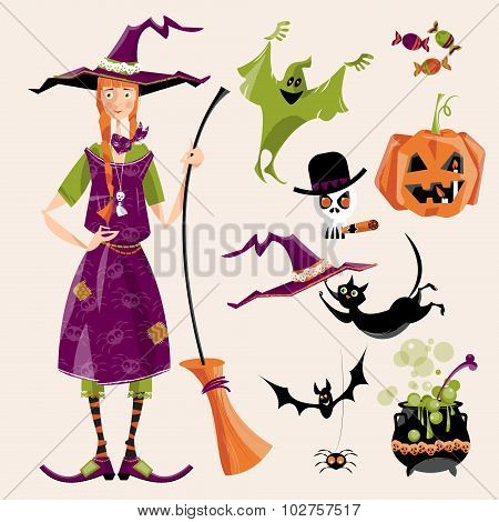 Set Of Traditional Elements Of Halloween. Witch With A Broom; Cauldron, Cat, Hat, Bat, Candy, Ghost,