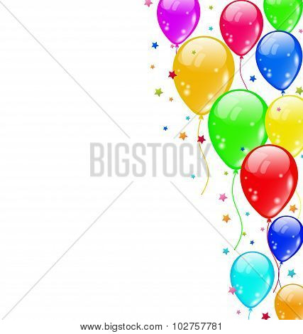 Set colourful shiny balloons for carnival