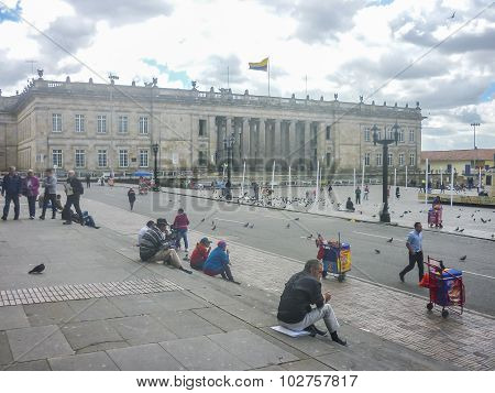 Plaza De Armas At Historic Center In Bogota Colombia