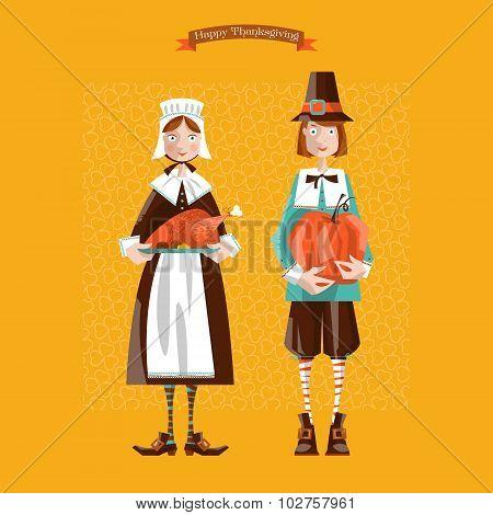 Pilgrim Couple. Thanksgiving Card.