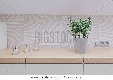 Wooden Worktop And Modern Backsplash
