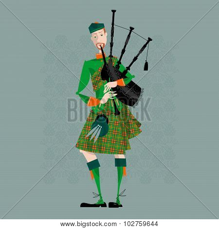 Scottish Bagpiper In Uniform. Scottish Tradition.