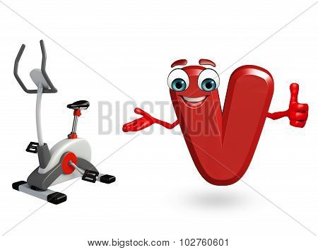 Cartoon Character Of Alphabet V With Exercising Machine