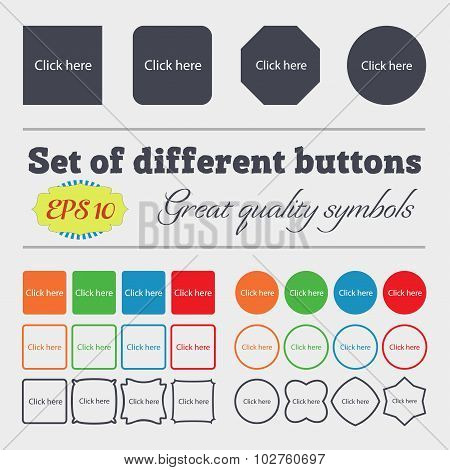 Click Here Sign Icon. Press Button. Big Set Of Colorful, Diverse, High-quality Buttons. Vector