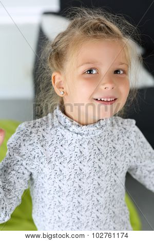 Amazed Little Blonde Girl Looking In Camera Portrait