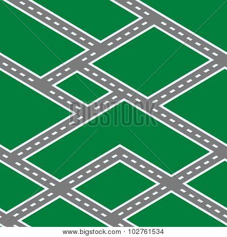 Vector Illustration of Road Seamless Pattern