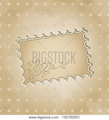 Grunge background with vintage floral label