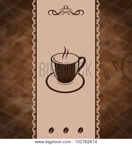 Vintage background for coffee menu, coffee bean texture