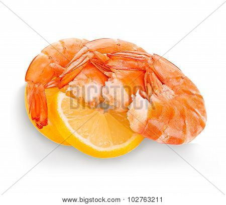 Tiger Shrimps With Lemon Slice . Prawns With Lemon Slice Isolated On A White Background. Seafood
