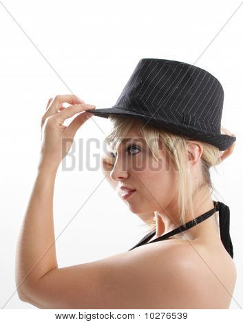 hat woman face profile