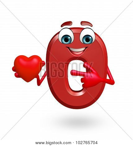 Cartoon Character Of Zero Digit With Heart Shape