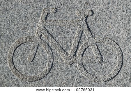 Bike Lane Sign Engraved In Granite