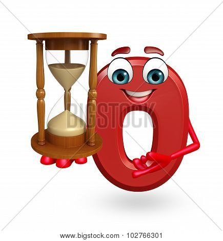 Cartoon Character Of Zero Digit With Sand Clock